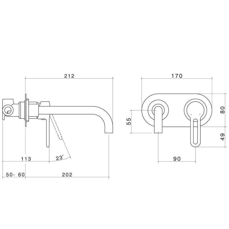 Caroma Cirrus Wall Bathroom Wels Basin Mixer - 200mm