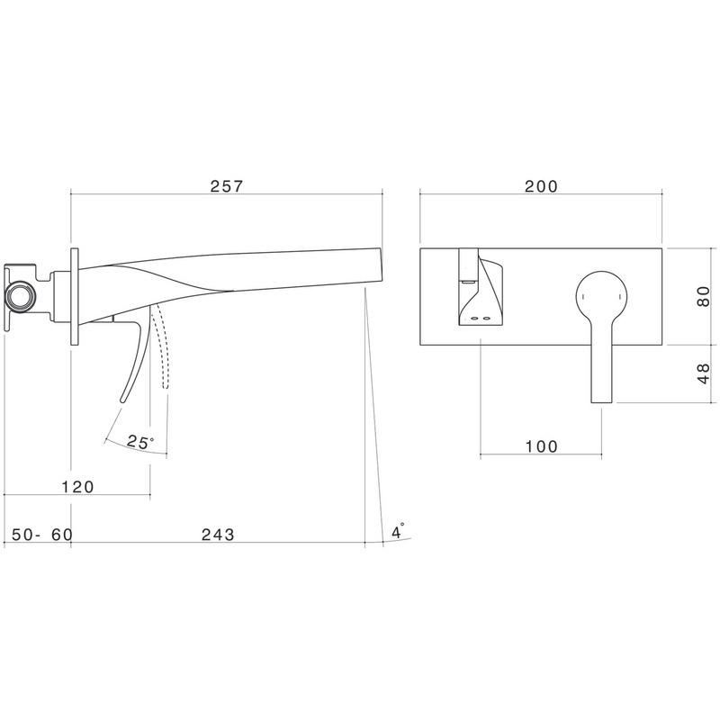 Dorf Whirl Bathroom Wall Bath Mixer - 240mm